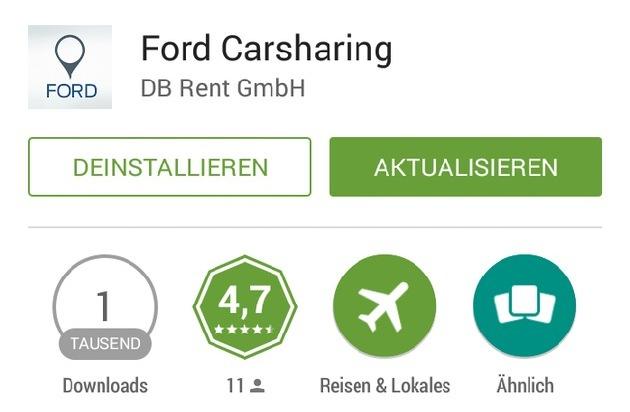 Ford-Werke GmbH: Ein Fingerdruck und das Auto geht auf: Ford erweitert die Ford Carsharing App