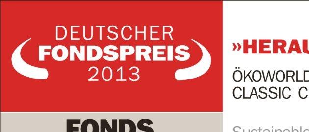DEUTSCHER FONDSPREIS 2013 für ÖKOWORLD ÖKOVISION CLASSIC / FONDS professionell, die FAZ und das Institut für Vermögensaufbau vergeben DEUTSCHEN FONDSPREIS an ÖKOWORLD.