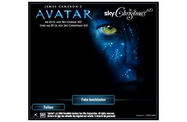 """Weihnachtsgrüße in blau: Sky bietet zum deutschen TV-Start von """"Avatar"""" originellen Online-Glückwunschservice """"Avatarize yourself"""" (mit Bild)"""