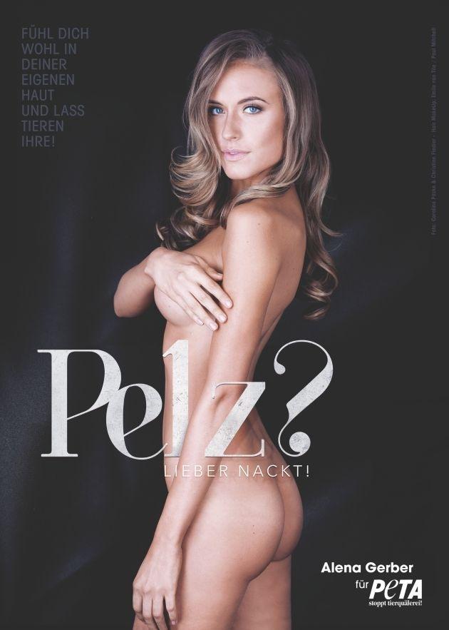 "Alena Gerber für PETA: ""Pelz? Lieber nackt!"" / Model kämpft mit sexy Motiven gegen die Pelzproduktion"