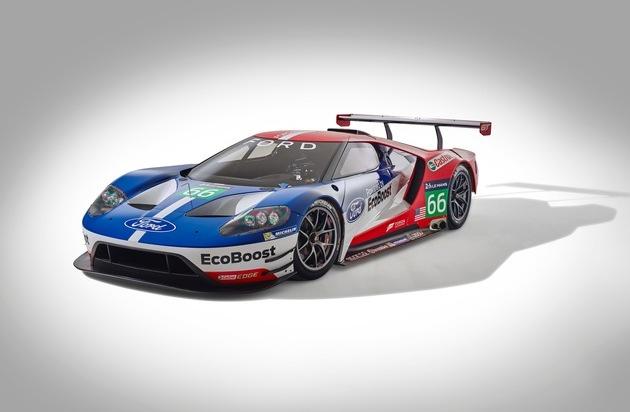Ford-Werke GmbH: Ford GT-Rennversion feiert 2016 Europa-Debüt in Silverstone und startet zudem in Le Mans