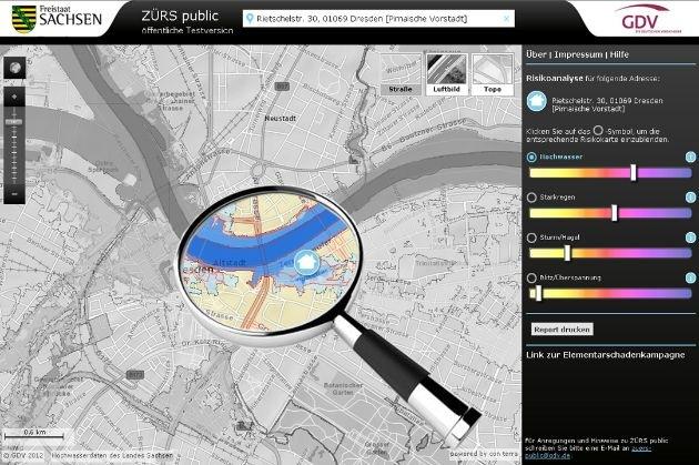 Hochwasserinformationen per Mausklick / Versicherungswirtschaft und Land Sachsen starten gemeinsames Pilotprojekt
