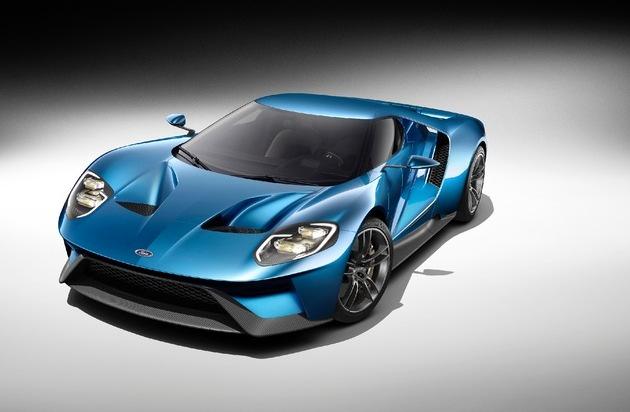 Ford-Werke GmbH: Neuer Supersportwagen Ford GT setzt Maßstäbe in puncto Karbon-Leichtbau, Aerodynamik und EcoBoost-Technik