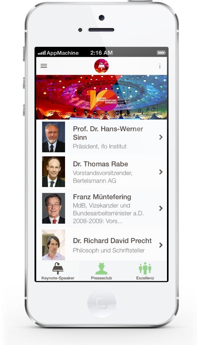 Kommunikationskongress 2013 erstmals mit eigener Konferenz-App / Helios Media, news aktuell und AppMachine stellen gemeinsam neue Smartphone-App zum #KK13 bereit