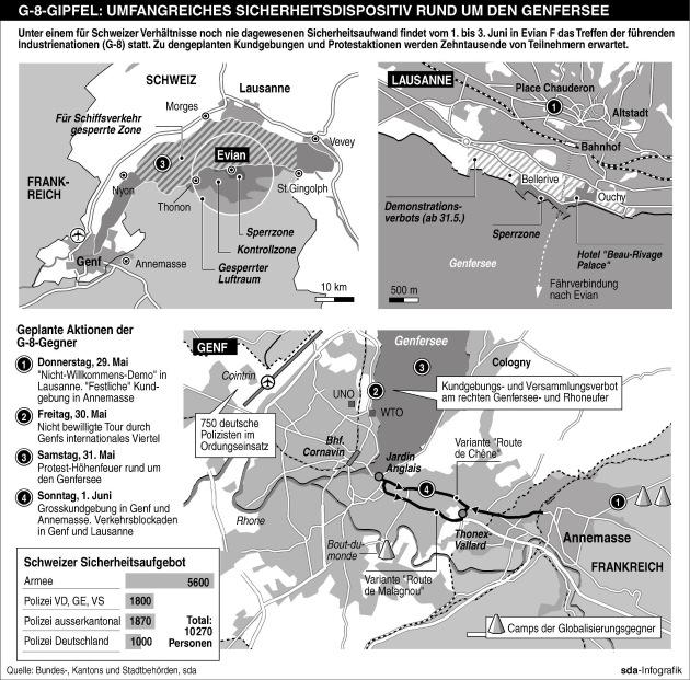 sda-Infografik - G-8-Gipfel: Umfangreiches Sicherheitsdispositiv rund um den Genfersee