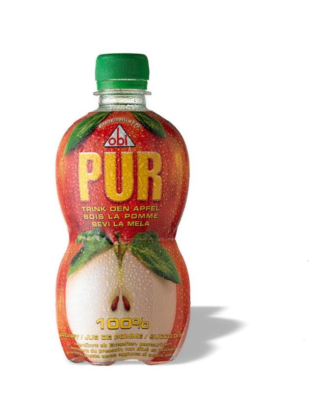 Thurella lanciert eine einzigartige Apfelsaft-Generation: obi PUR - der Apfel in der Flasche