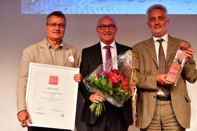 L'Albergo Corippo vince l'Hotel Innovation Award 2017 / Premiato un concetto alberghiero pionieristico per la promozione del turismo nelle regioni alpine