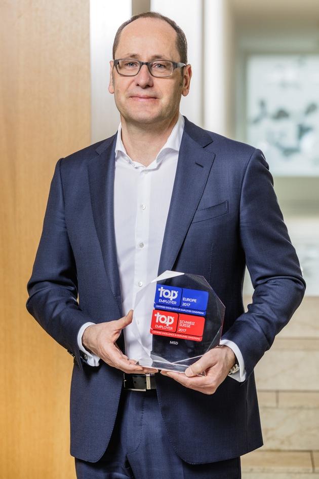 """MSD """"Top Employer Schweiz 2017"""" und """"Top Employer Europe 2017"""""""