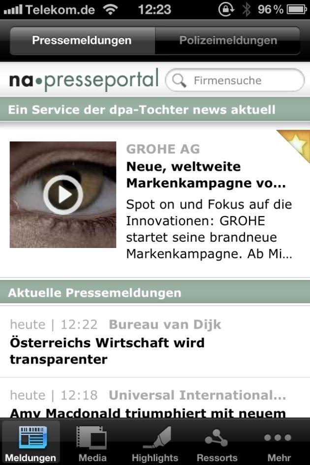 Unternehmensinformationen jetzt noch einfacher abonnieren mit der neuen App-Version von Presseportal.de