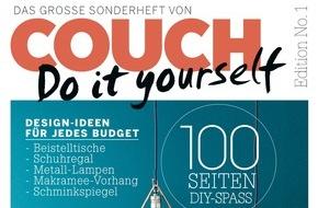"""Gruner+Jahr, Couch: COUCH startet erste Line Extension: Für begeisterte DIY-Leserinnen erscheint das """"Do it yourself""""-Sonderheft mit vielen Designteilen zum Nachmachen"""