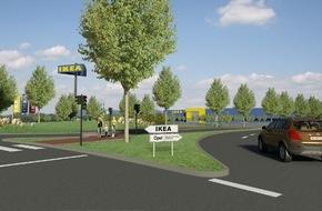 IKEA Deutschland GmbH & Co. KG: IKEA Kaiserslautern feiert Richtfest / 50. Haus mit Sonnenenergie, Spielplatz und grünem Parkplatz