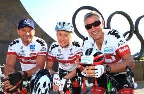 Tirol Werbung: Heather Mills verabschiedet Olympiassieger: Tiroler Charity - Radtour zu den Sommerspielen in London gestartet