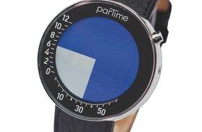 Partime Advision AG: Grafische Uhr aus Zürich geht um die Welt: Partime an Bord der Swiss International Airlines