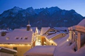 Alpenregion Bludenz: Winter, Schnee und berge.hören in der Alpenstadt Bludenz
