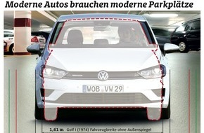 ADAC: Parkhaus-Test: Wenig Platz für moderne Autos / Viele Parkplätze nach wie vor zu schmal und kaum behindertengerecht (FOTO)