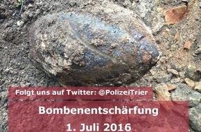 Polizeipräsidium Trier: POL-PPTR: Stadt und Polizei arbeiten bei Bombenentschärfung zusammen  -  Infos auch auf Twitter und facebook