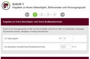 GDV - Gesamtverband der Deutschen Versicherungswirtschaft e.V.: Wie viel Geld im Alter fehlt / Versicherungsverband präsentiert neuen Rentenrechner
