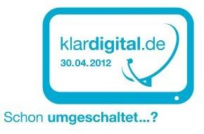 """ARD Radio & TV: Analoge Satellitenausstrahlung endet am 30. April 2012 Serviceseiten der Initiative """"klardigital 2012"""" im Videotext (mit Bild)"""
