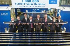 SCHOTT AG: Meilenstein: Eine Million Solarreceiver von SCHOTT für Solarkraftwerke in der ganzen Welt