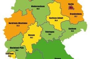 Advocard Rechtsschutzversicherung AG: Deutschlands großer Streitatlas: Berliner sind die streitlustigsten Deutschen