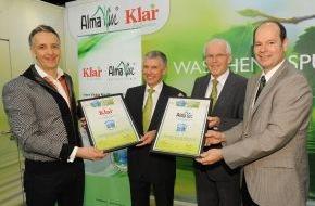 """Green Brands: AlmaWin und KLAR erhalten als eine der ersten deutschen Marken der Wasch- und Reinigungsmittelbranche die Auszeichnung """"GREEN BRAND Germany"""""""