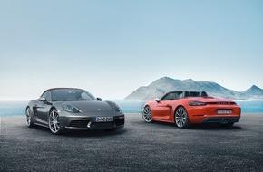 Porsche Schweiz AG: Die neuen Mittelmotor-Roadster mit Vierzylinder-Motoren: Porsche 718 Boxster / 35 PS mehr Leistung - 13 Prozent weniger Verbrauch