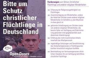 Open Doors Deutschland e.V.: Open Doors startet große Schreibaktion an Bundeskanzlerin / Schutz christlicher Flüchtlinge in deutschen Asylheimen muss Chefsache werden