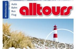 alltours flugreisen gmbh: alltours relauncht Logo, schärft Markenprofil, verstärkt Werbung und will weiter expandieren / Konsumforscher ermitteln für alltours Bekanntheitsgrad von 94%