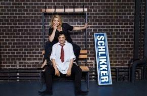 """SAT.1: Annette Frier und Katharina Thalbach kämpfen um ihren Arbeitsplatz im SAT.1-TV-Event """"Die Schlikkerfrauen"""" am 30. September 2014"""