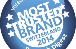Miele Schweiz: Reader's Digest Leser wählen Miele zur Most Trusted Brand 2014