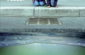 """Association Suisse des Gardes-Pêche: EIN ABDRUCK IM GUSSEISEN / EIN FISCH AUF EINEM GITTER - """"Unter jedem Ablaufgitter verbirgt sich ein Fluss"""" (Bild/Dokument)"""