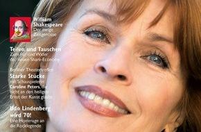 """3sat: """"Ich bin nicht bescheiden"""" / Senta Berger im Gespräch mit dem """"3sat TV- & Kulturmagazin"""" / Das neue Magazin mit dem Besten aus 3sat in den Monaten April bis Juni ist ab 18. März im Handel erhältlich"""
