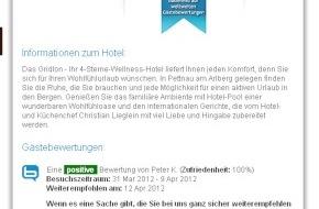 ncm.at - net communication management gmbh: Mehr Direktbuchungen durch Gästebewertungen auf der hoteleigenen Webseite