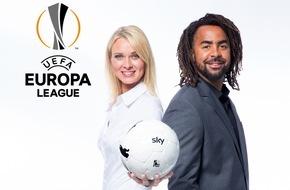 Sky Deutschland: Sky Experte Patrick Owomoyela moderiert mit Britta Hofmann die UEFA Europa League / Erste Sendung am Donnerstag, 17. September auf Sky Sport HD 1