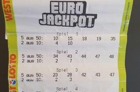 """Eurojackpot: """"Ich musste ein, zwei, drei Mal hinschauen und konnte es immer noch nicht glauben"""" / Mit diesem Schein räumte der Eurojackpot-Gewinner mehr als 76 Millionen Euro ab"""