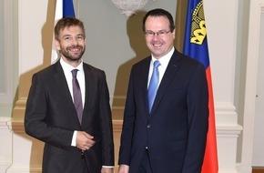 Fürstentum Liechtenstein: ikr: Treffen von Justizminister Thomas Zwiefelhofer mit seinem tschechischen Amtskollegen Robert Pelikán