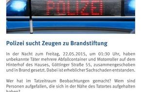 Polizeidirektion Hannover: POL-H: Zeugenaufruf! Unbekannte setzen mehrere Müllcontainer und Motorroller in Brand