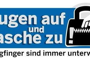 """Polizei Düsseldorf: POL-D: Einladung zum Foto- und Pressetermin - """"Augen auf und Tasche zu!"""" - Landesweite Kampagne gegen Taschendiebe - Düsseldorfer Polizei informiert über die Tricks der Diebe"""