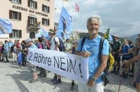 Alpen-Initiative: Protestfeuer auf dem Gotthardpass: NEIN zur 2. Strassenröhre