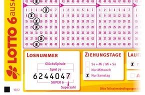 Staatliche Toto-Lotto GmbH Baden-Württemberg: Lotto-Sechser im Doppelpack: Oberschwäbin mit zwei Volltreffern auf einem Spielschein