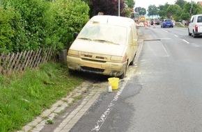 Polizeiinspektion Northeim/Osterode: POL-NOM: Pkw wurde mit zwei Eimern Farbe überschüttet und zwei Reifen zerstochen