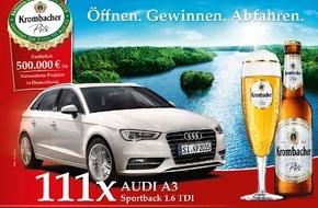 "Krombacher Brauerei GmbH & Co.: ""Öffnen. Gewinnen. Abfahren."" - Krombacher Kronkorkenaktion 2015 mit attraktiven 111 Audi A3 Sportback"