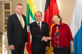 Hanns-Seidel-Stiftung: Vorsitzende Ursula Männle empfängt Myanmars Präsident Thein Sein / Demokratisierungsprozess und wirtschaftliche Entwicklung im Blickpunkt