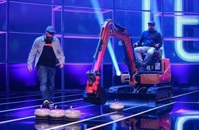 """ProSieben Television GmbH: Am Ball, im Wasser, auf dem Bagger: Sido, Smudo, Joko und Klaas spielen in """"TEAMWORK"""" am Samstag, 20:15 Uhr, für ihre Fans um 100.000 Euro"""