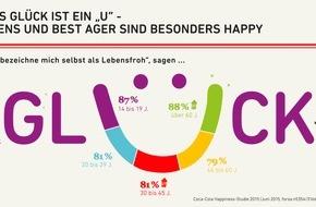 Coca-Cola Deutschland: Neue Happiness-Studie zeigt: Die Deutschen sind glücklicher als noch vor vier Jahren / Rentner im Glückshoch: 88 Prozent der Ü-60 Generation sind happy