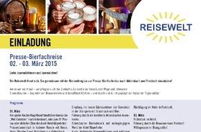 Touristik Mühlviertler Kernland: Einladung zur Presse-Bierfachreise vom 1. bis 3. März 2015
