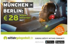 mitfahrgelegenheit.de: Mitfahrgelegenheiten sind günstigstes Verkehrsmittel