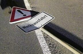 Polizeipräsidium Westpfalz: POL-PPWP: Katzweiler: Wer hat das Schild heraus gerissen?