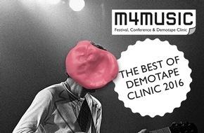Migros-Genossenschafts-Bund Direktion Kultur und Soziales: Das Migros-Kulturprozent präsentiert die Compilation «The Best of Demotape Clinic 2016» / m4music: die besten Schweizer Popmusik-Demos 2016