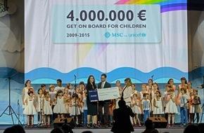 MSC Kreuzfahrten: MSC Cruises récolte 4 millions d'euros pour l'UNICEF / Des centaines d'enfants réunis à l'occasion de cette annonce célébrée  à Milan Expo 2015